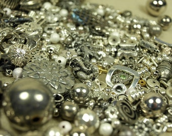 1/2 lb Grab Bag of Silver Colored Metal Beads, Pendants, Links and Findings. MEGAMIX4045
