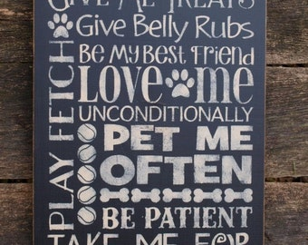 Canine Rules , Word Art, Typography, Subway Art, Primitive Wood Wall Sign