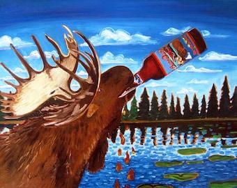 Moose Beer Painting, Moose Drool Brown Ale, Big Sky Brewing, Montana Beer Art, Craft Beer Gift, Gift for Brother, Bar Art, Retirement Gift