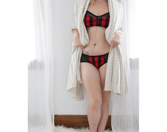 Red and Black Rustic Plaid 'True North' Hipster Panties and Bra Lingerie Set with Sheer Black Mesh Handmade in Canada