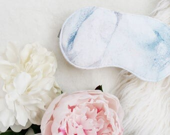 Cotton 'Marble' Sateen Sleep Mask in White Blue and Rose