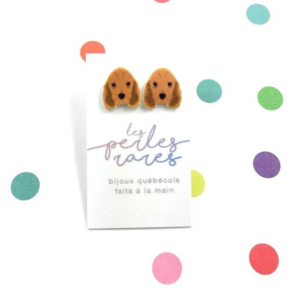 cocker spaniel, dog, american cocker, brown, dog earring,dog, hypoallergenic, plastic, stainless stud, handmade, les perles rares