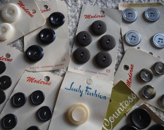 Vintage BUTTONS on cards black grey white sewing supplies crafts hobby from MyGypsyCottage on Etsy