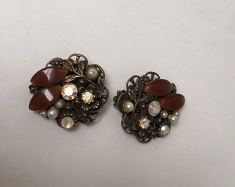 1960s Brown Moonglow and Rhinestone Earrings Clip On