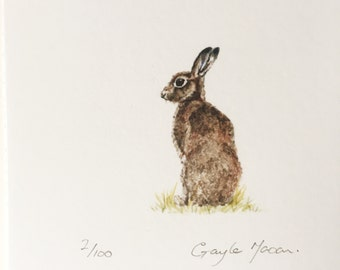 Signed Limited Edition Tiny Print of of a Hare