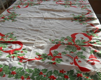 Vintage tablecloth, Christmas, cotton, bells, holly, ribbons, red/green/white, large