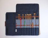 Knitting needle case, Extra large needle case for straight needles, Big knitting needle organizer, knitting storage