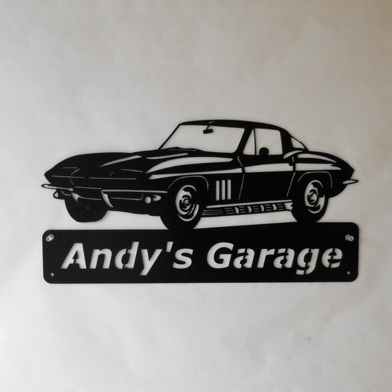1964 Corvette- Personalized Metal Sign- Man Cave- Classic - Muscle Car Art -Garage Sign -Satin black- Chevrolet