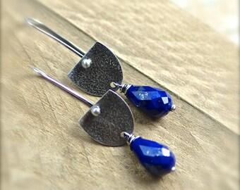 Lapis Gemstone Earrings. Oxidized Sterling Silver Earrings.  Lapis Dangle Earrings.  Lapis Teardrop Earrings