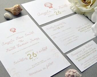 Sea Shell Wedding Invitations, Beach Wedding Invitation Suite, Sand and Coral Wedding Pocket Invite Set, Destination Wedding Invites Classic