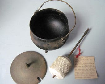 Vintage Fireplace pot cauldron with Fire Starter
