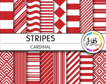 Stripes Digital Paper, Cardinal, Red, red and White, Stripes, Nautical, Digital Paper, Digital Download, Scrapbook Paper, Digital Paper Pack