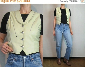 FALL SALE 80s Ecru STUDDED Leather Vest 80s Ecru Button Down Leather Vest Silver Studded Leather Vest Off White Leather Vest Arrow Studded V