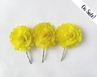 Three bright yellow flower bobby pins - hand painted natural silk flowers - dandelions ***Item on sale*** Previous price : 30.50 EUR