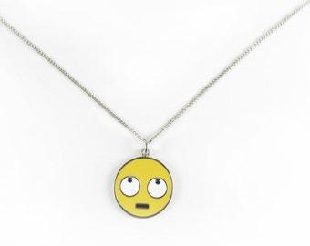 Rolling Eye Face Emoji  Charm Necklace