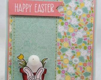 Easter Bunny Butt - Handmade Card - Creations By Wendalyn, Spring, Birthday, Watercolored, Sewn - Flower Background