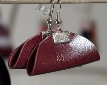 Burgundy and Silver Leather Earrings