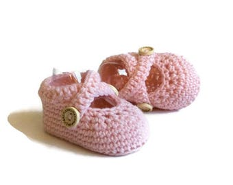 Pink Ballet Shoes Crochet Baby Shoes Merino Wool Baby Slippers Knitted Baby Shoes Pink Baby Booties Girl Baby Gift by Warm and Woolly Etsy