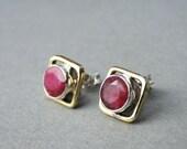 FAB Ruby Earrings / Victorian Inspired Cherry Red Rubies / Pierced Ruby Earrings / Ruby Accessories / Sterling Silver Ruby Earrings