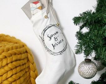 Couples Christmas Stocking - mr and mrs stocking - wreath name stocking - white name stocking