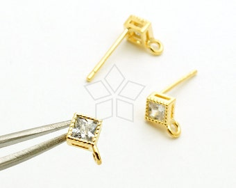 SI-785-GD / 2 Pcs - Solitaire CZ Stud Earrings, Diamond-Shaped Cz Ear Posts, Gold Plated, with 925 Sterling Silver Post / 4mm x 4mm