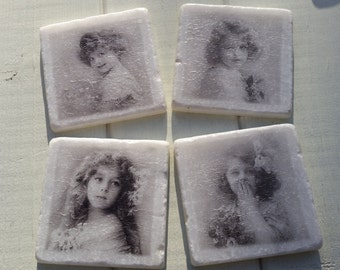 Victorian Girls Marble Coaster Set of 4 Tea Coffee Beer Coasters