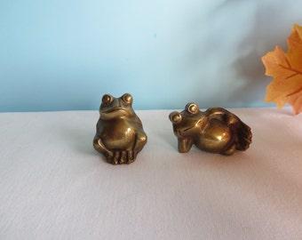 Vintage Brass Frog Pair
