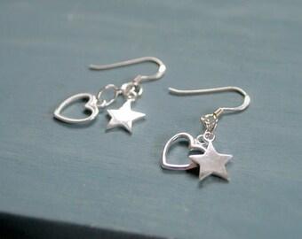 Silver Stars And Hearts Charm Earrings Sterling Silver Star Hearts Earrings UK