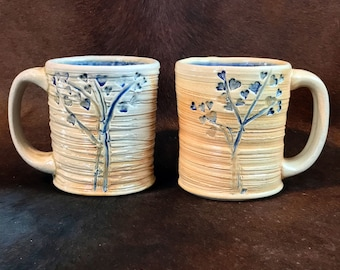 Pair of Wood Fired Mugs with Hearts on Trees, Wheel Thrown and Textured Ceramic Coffee Mugs, Handmade Pottery Mug Set.