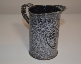 Vintage enamelware measure jug - graniteware enamel ware - country kitchen farmhouse