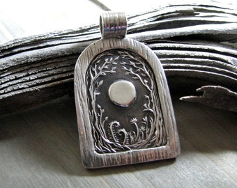 Open Door Pendant No. 2, Personalized, Moon and Trees, Handmade with Recycled Silver, Original Design by SilverWishes