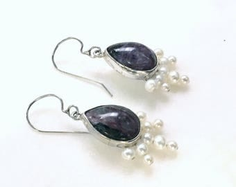 Purple Charoite and Pearl Sterling Silver Earrings