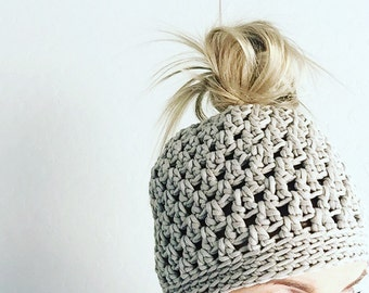Messy Bun Hat Pattern and Tutorial PDF with Pictures