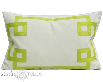 Ribbon Pillow Cover - green ribbon - fretwork - green and cream - 15X23 - lumbar - Hamptons - decorative pillow cover - ready to ship