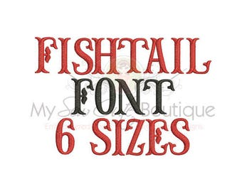 Fishtail Embroidery Fonts for PES Monogram Pattern BX Designs - Machine Embroidery Monogram Fonts - Instant Download
