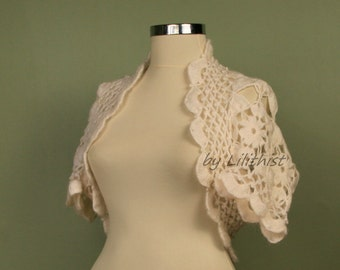 White Lace Shrug, Lace Bolero, Crochet Bolero, Bridal Shrug Bolero, Wedding Bolero Cape, Crochet Shrug, Short Sleeve, Bridal Cover Up