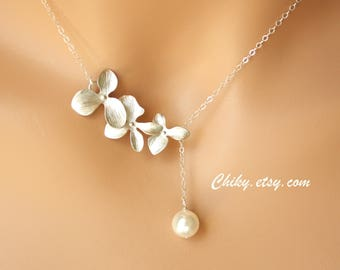 Wedding Jewelry Pearl Necklace, Delicate Orchid Flower Lariat & Y necklace, Bridal jewelry, Bridesmaids gifts, Beaded necklace, Gold/ Silver