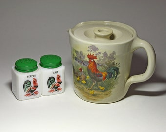 Vintage Shakers and Thangs Stoneware Rooster Pitcher with Lid - circa 1970's