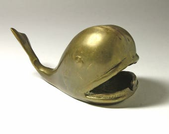 Vintage Brass Whale Paperweight, Brass Whale Ashtray - circa 1960's