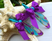 Aqua & Purple Ribbon Dragonfly Wing Earrings