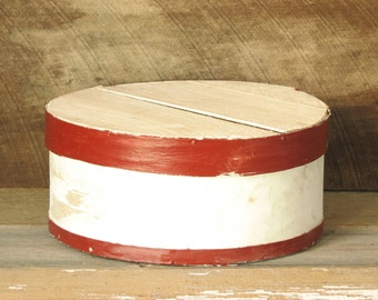 Vintage Pantry Box Round Wood Storage with Lid, Red and White Shabby Chic Storage Box, Hat Box, Cheese Box