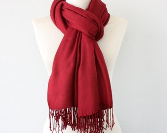 Pashmina scarf Thick pashmina shawl Burgundy scarf pashmina wrap gift for her bridal pashmina bridesmaids wrap wedding shawl MORE COLORS