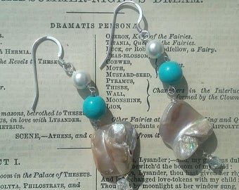 Silver 925 Turquoise and Shell Earrings