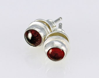 Handcrafted Sterling and Garnet Earrings 7 mm Stud Earrings January Birthstone Natural Stone Contemporary Artisan Jewelry 84985383101015