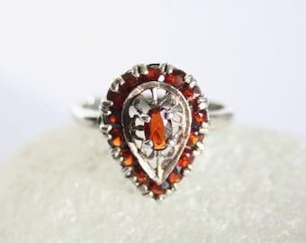 Vintage garnet ring. Sterling silver ring.  UK size L. US size 5.75