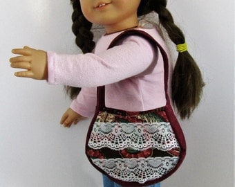Burgandy Lace and Flowers Handbag Purse for 18 inch or American Girl Doll Clothes