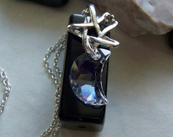 Swarovski Crystal Moon with Silver Star Pendant