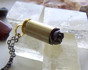 Gold Pyrite Carved Rose Gemstone Bullet Pendant