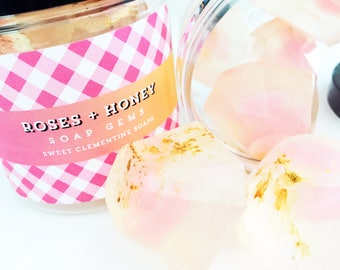 Roses and Honey Soap Gems, Gem Soaps, Soap Rocks, Soap Crystals, Rose Soap, Honey Soap