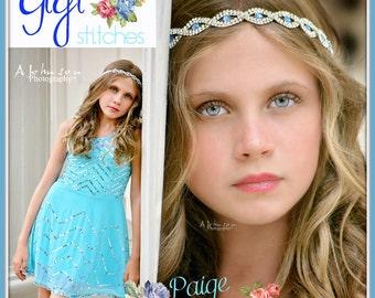 rhinestone headband- blue headband - flower girl headband - cinderella inspired headband - newborn headband, girls headband - photo prop